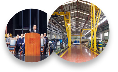 Established Korea Cable Industry Co. View of the inside of the injection molding Machine plant